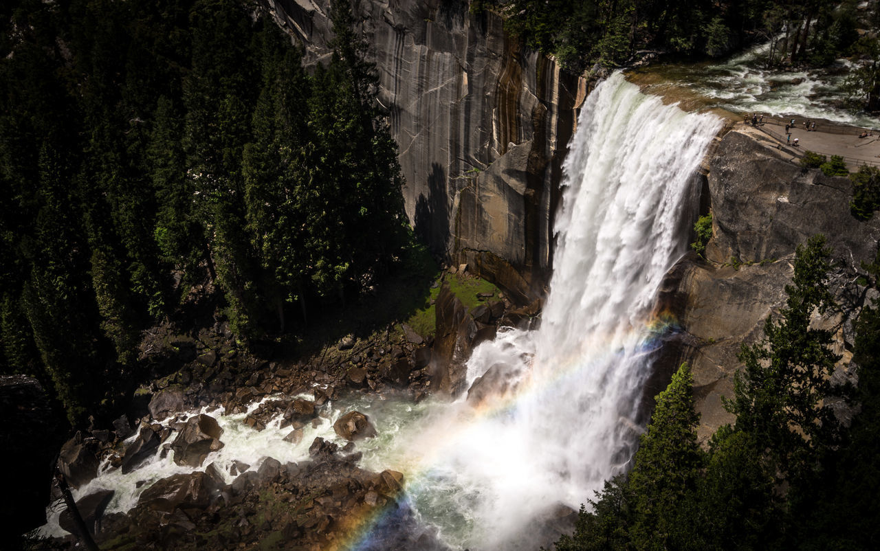 Beauty In Nature Cliff Day Forest Freshness From My Point Of View High Landscape Nature Nevada Falls No People Outdoors Power In Nature Rock - Object Scenics Strong Top Perspective Tree Valley View From Above Water Waterfall Rainbow Rainbows