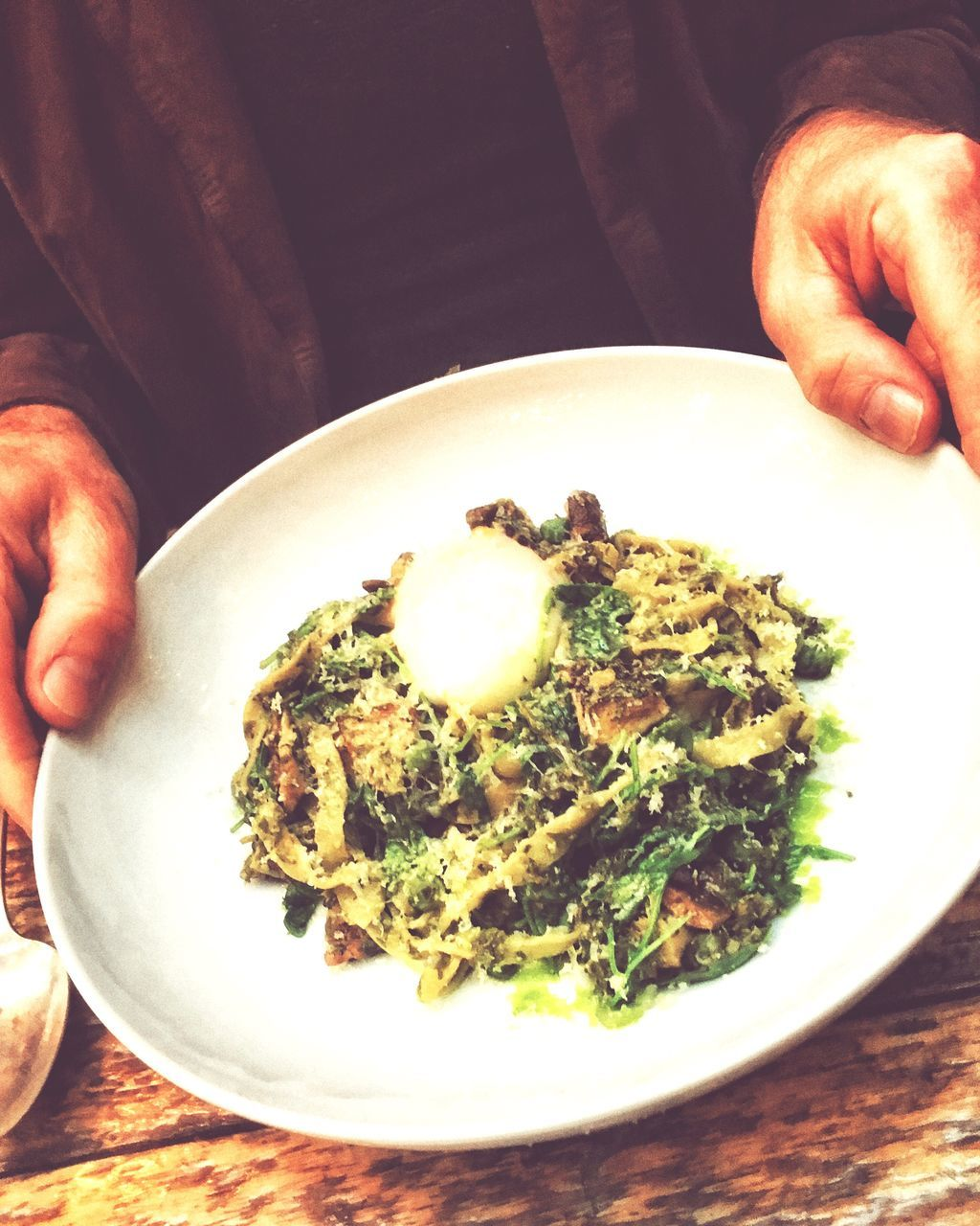 food and drink, food, plate, freshness, table, one person, indoors, human hand, ready-to-eat, healthy eating, breakfast, holding, close-up, human body part, italian food, gourmet, real people, one man only, day, people