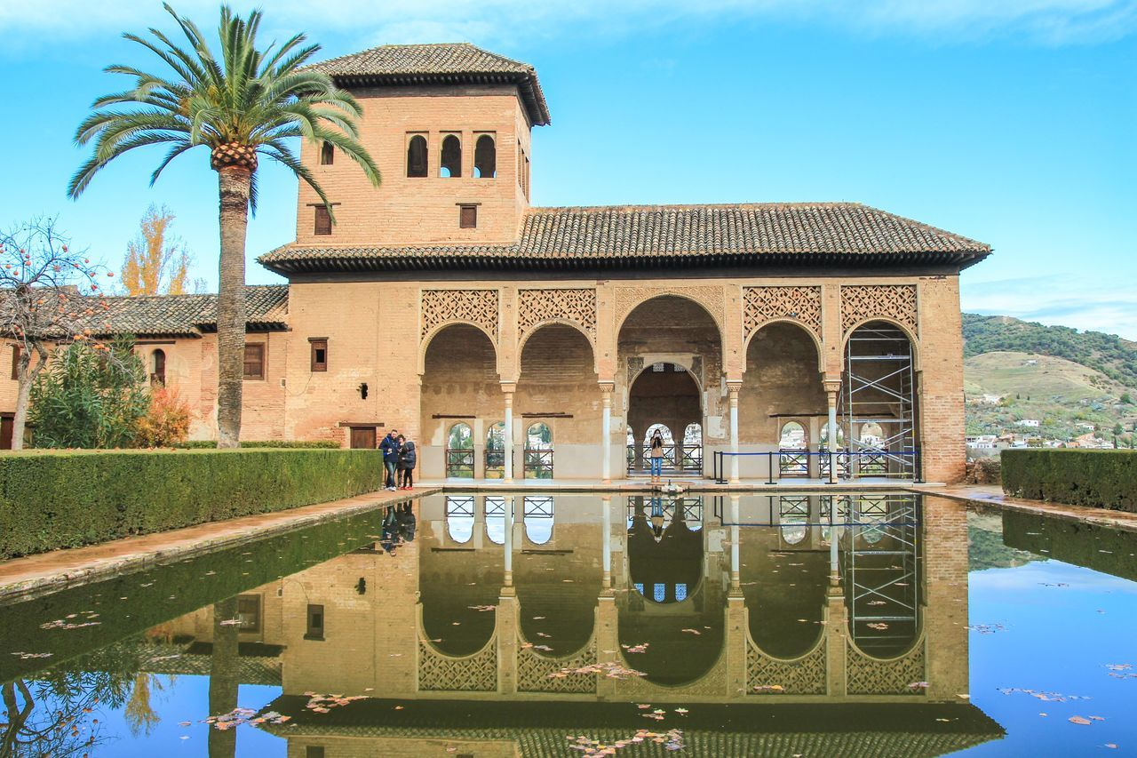 Arch Architecture Building Exterior Built Structure Day Granada Nature No People Outdoors Palm Tree Reflection Sky Tree Water