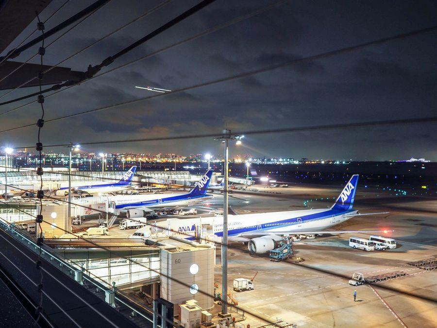 Airport Illuminated Night Transportation Sky Mode Of Transport No People Outdoors Airplane Haneda Airport Tokyo Tokyo,Japan All Nippon Airways