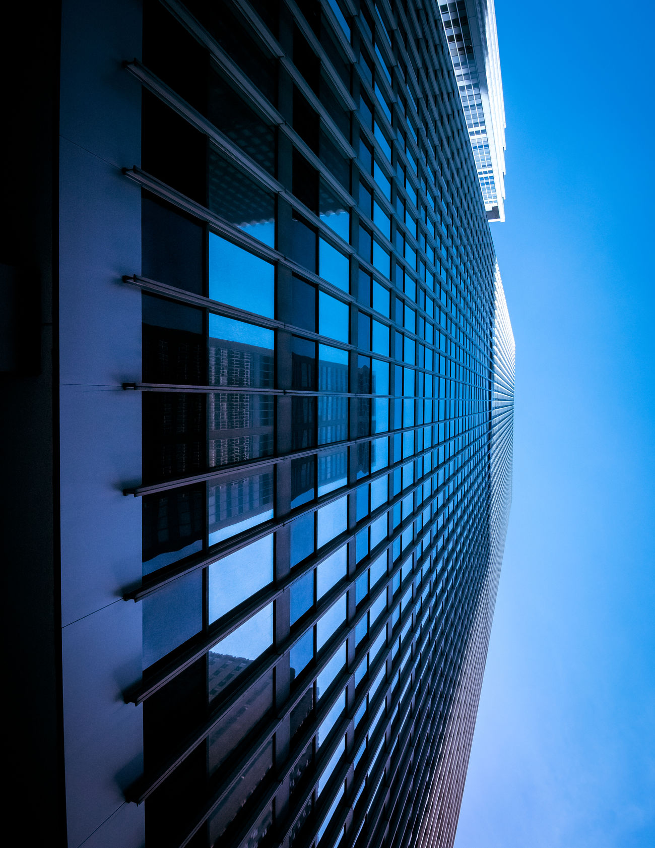 Blue Architecture Blue Building Exterior Built Structure Business City Corporate Business Day Façade Futuristic Glass - Material Low Angle View Modern No People Office Office Building Exterior Office Park Outdoors Place Of Work Reflection Sky Skyscraper Steel The Architect - 2017 EyeEm Awards Window