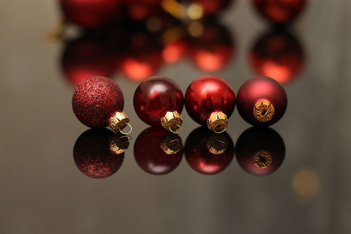 4 of my red Christmas decorations Red Christmas Decoration Christmas Globe Close-up Focus On Foreground Indoors  No People Red Decorations