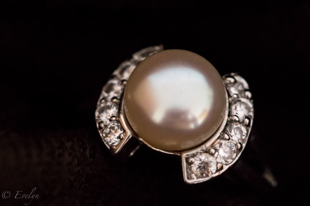 Black Background Close-up Indoors  Jewellery Jewelry Luxury No People Pearl Ring Shiny Table