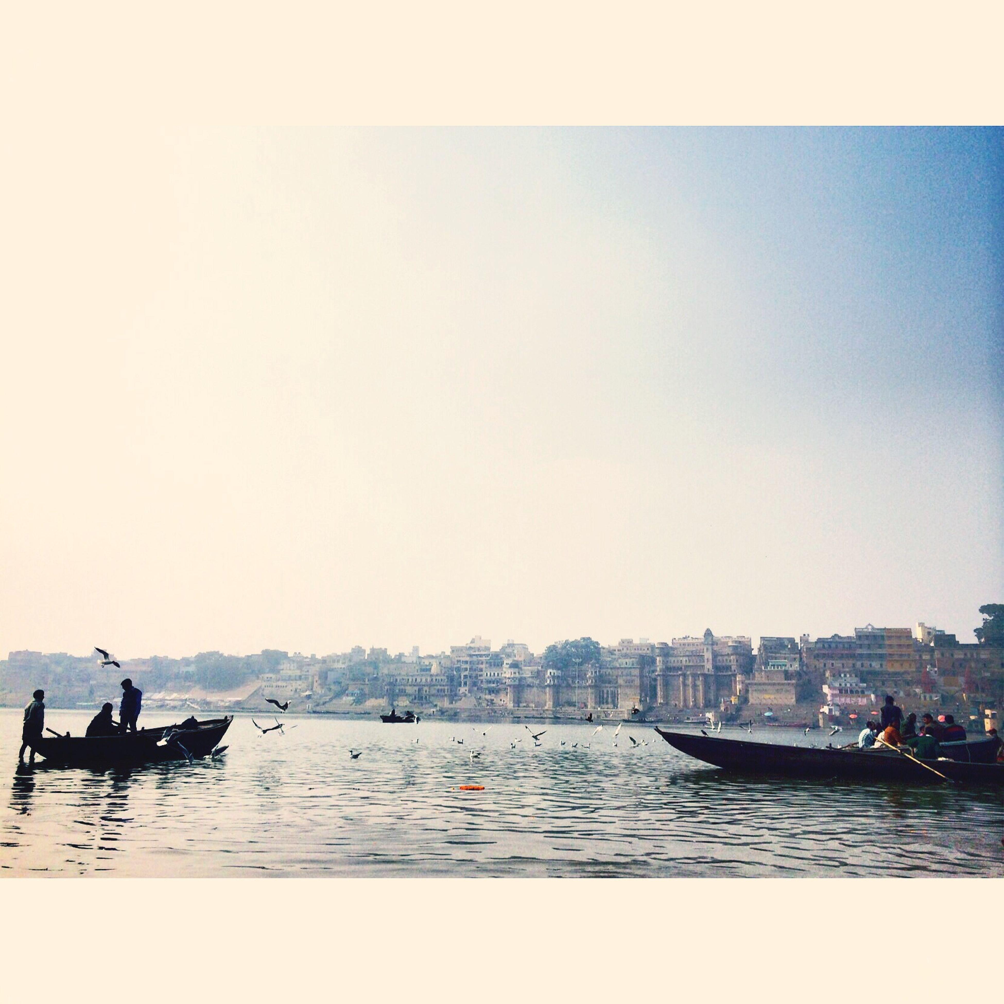 Varanasi India Indian Temple Ganga River Boats Photograhy #iphoneography #sky #bird #blue #多重露光