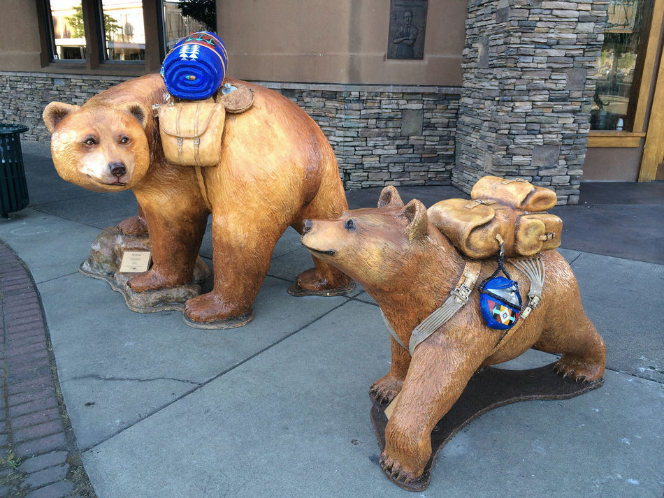 Annual street art in Grants Pass, Oregon Animal Representation Animal Themes Architecture Art Art And Craft Backpacks Bear Bear Cubs Brown Building Exterior Domestic Animals Grants Pass Mammal Oregon Outdoors Street Art Two Animals