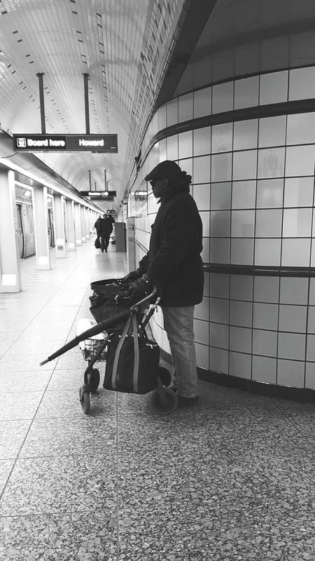 Chicago Cta Red Line Grand Cta Grand Station Grand Station Homeless CTA Downtown Downtown Chicago Subway Subway Station Subway People Subway Portraits Subwayphotography African African American Blackandwhite Black And White Black & White Blackandwhite Photography Umbrella