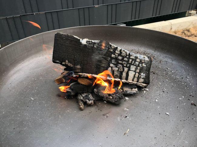 Wall Flame Burning Heat - Temperature Outdoors No People Bonfire Flame Grey Evening Smoke Relaxing Brazier Garden Terrace Metal Bowl Black Burning Wood Metal Fire Bowl Close-up Wood - Material Fire