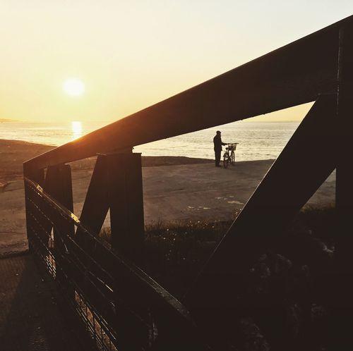 Real People Lifestyles Leisure Activity Sunset Railing Silhouette Men One Person Outdoors Full Length Sky Nature Day People Sea Beach Bridge Yalova Turkey Türkiye