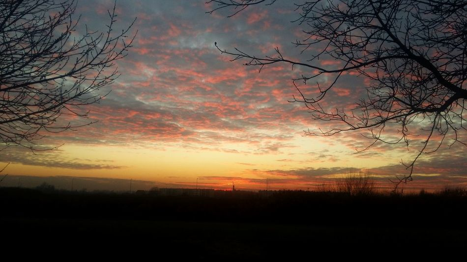 Winter Sky Sunset Clouds Slavonski Brod Croatia