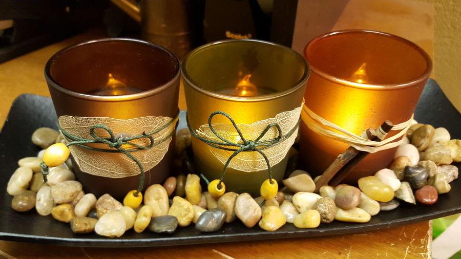 A little office zen. :) Candle Light Pebbles Teak Holder Raffia Zen