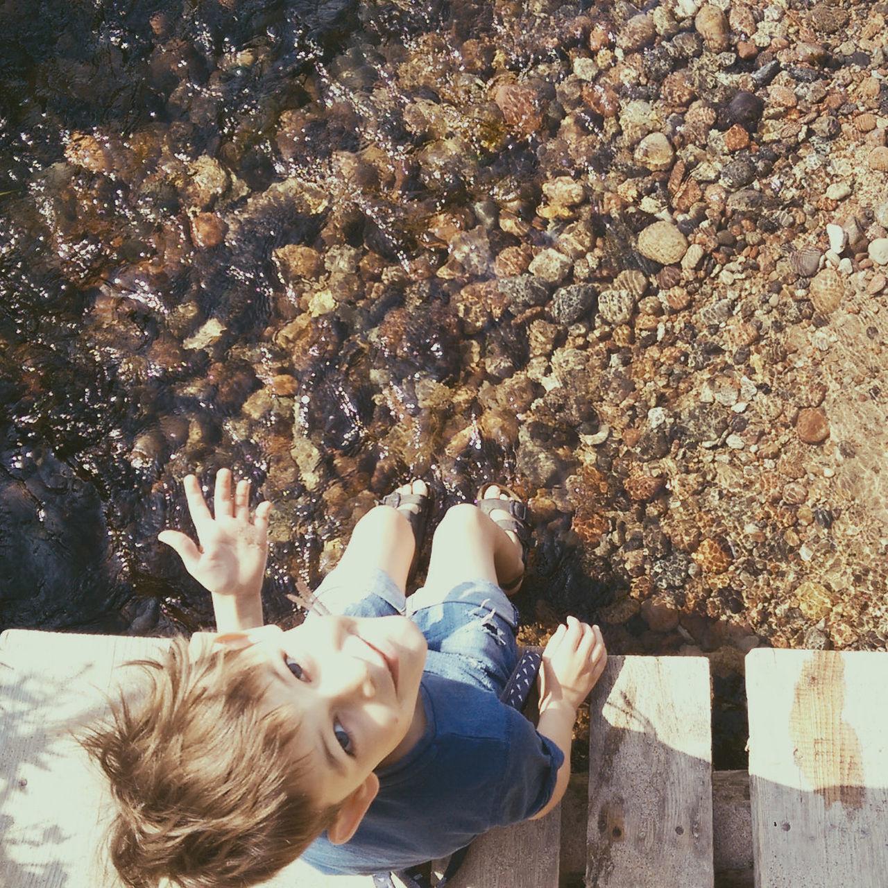 Child River Rocks Rocks And Water Bridge