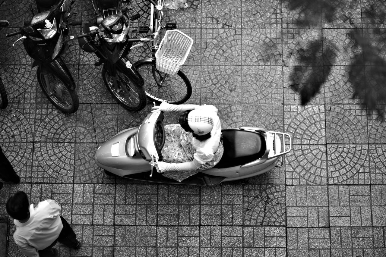 City Traffic High Angle View Ho Chi Minh City People From Above Street From Above Street Pavement Vietnam Woman On Motorcycle Women