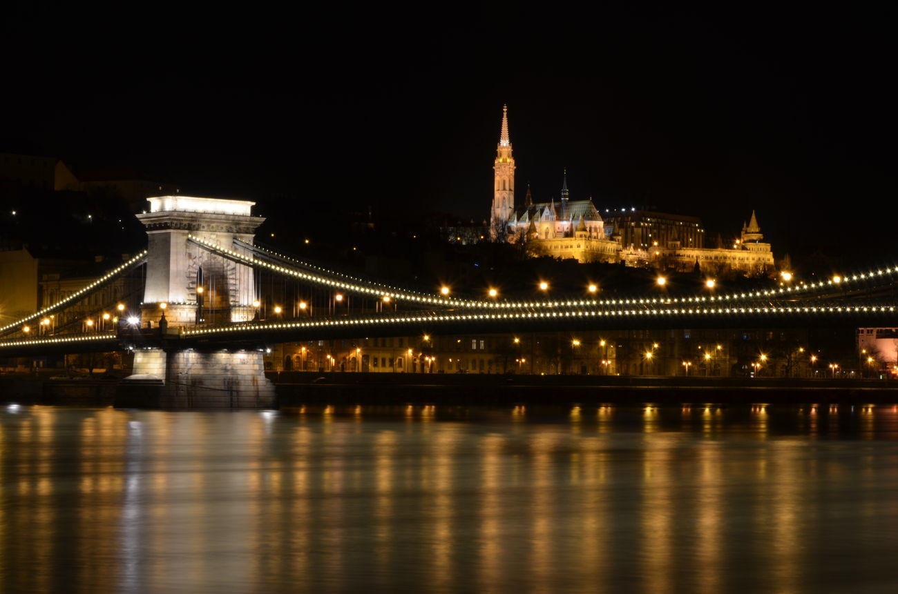 As Bridge Budapest Castle Budapest Cs Capital Cities  Capital City Chain Bridge City Danube Danube River Famous Place Night River Water Waterfront