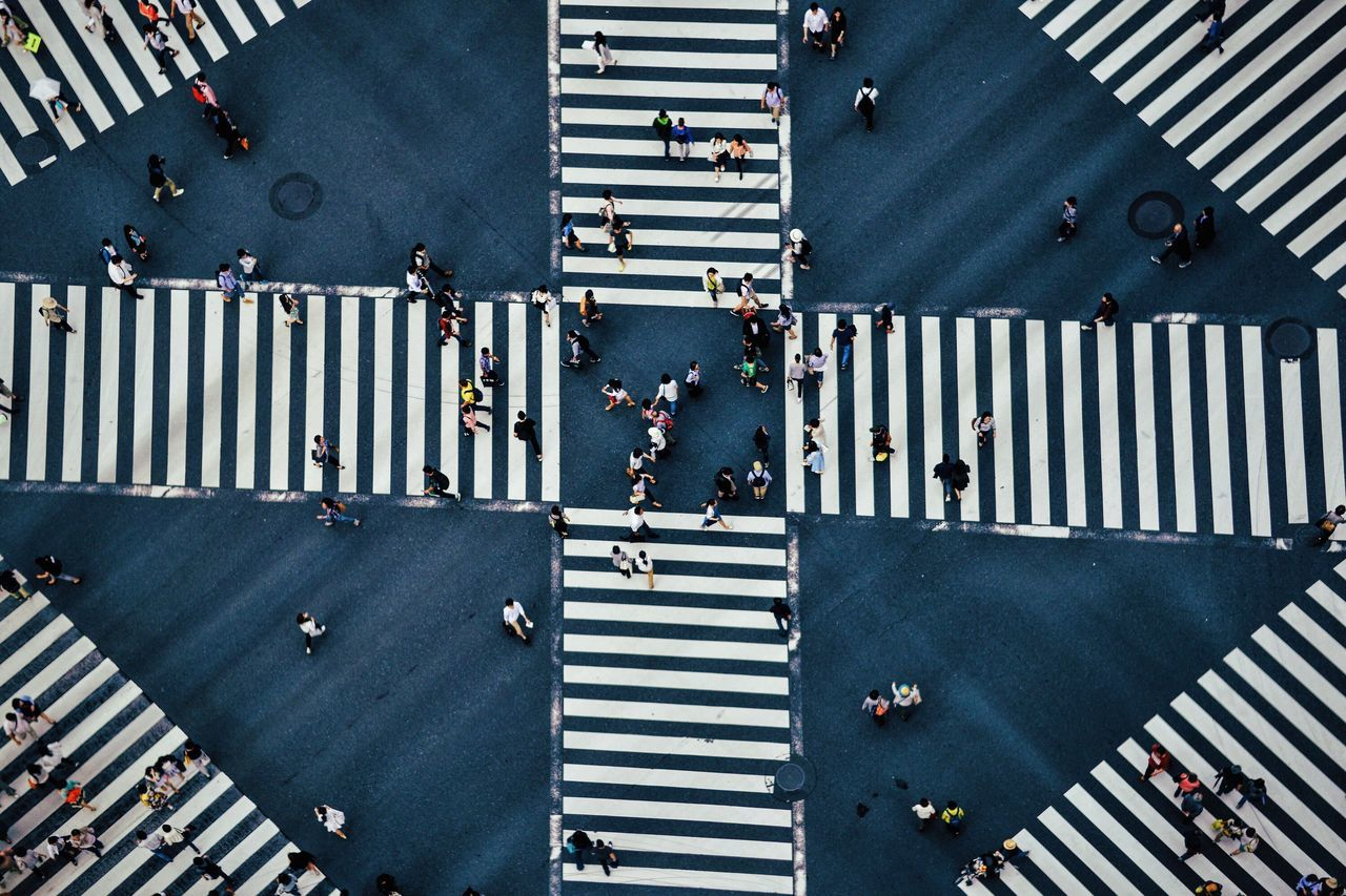 High Angle View Of People On Pedestrian Crossing