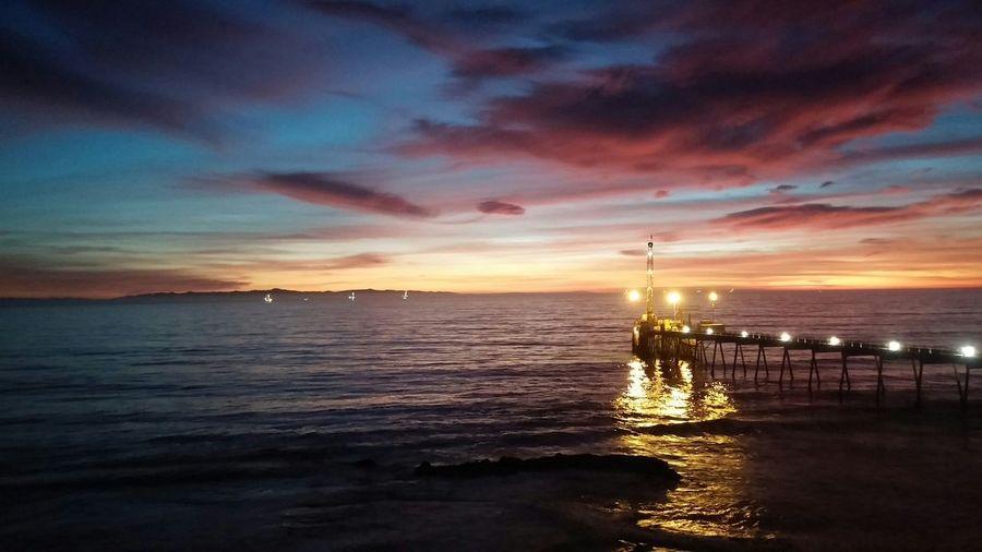 Sunset Pier Ocean View Scenic Dusk