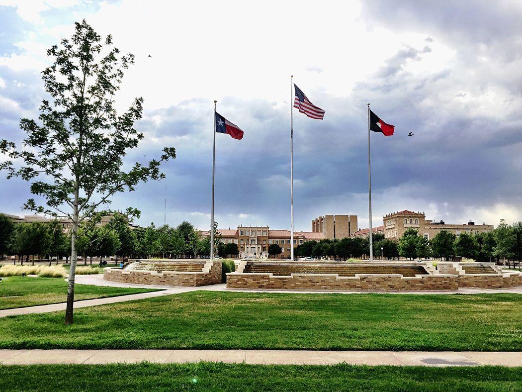 Texas Tech University Central Fountain Flags Memorial Circle at TTU.