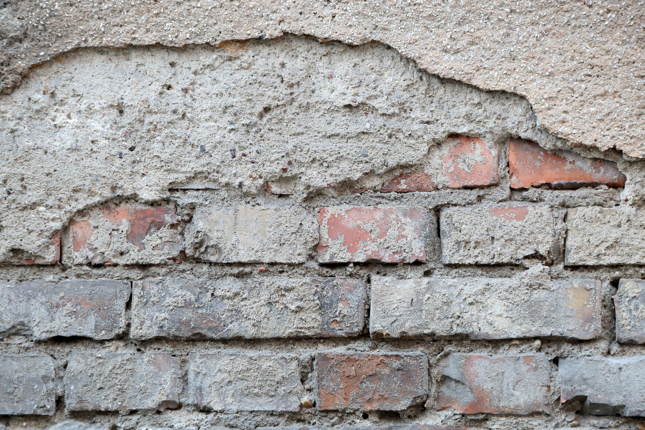 Background Bricks Close-up Concrete Damaged Facade Building Façade Old Pattern Texture Wall