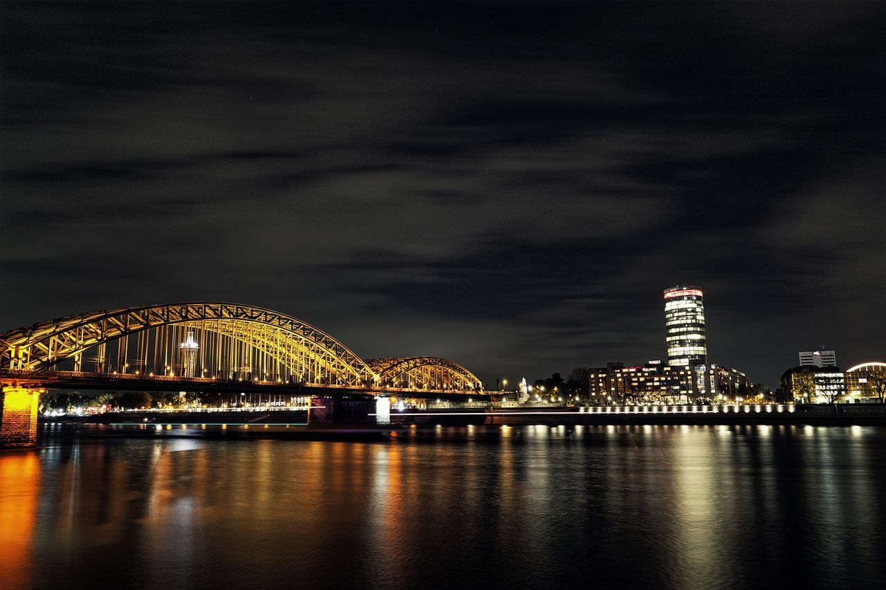 Night Reflection City Water Business Finance And Industry Travel Destinations Bridge - Man Made Structure Architecture Cityscape Sky Midnight Astronomy Outdoors Illuminated Köln Hohenzöllern Bridge Hohenzollernbrücke River Reihn Edge Of The World