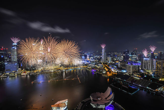 Beautiful Fireworks Display during Singapore National Day parade Cityscape Firework - Man Made Object Firework Display Fireworks Fireworks In The Sky Fireworksphotography Light Night Pyrotechnics Sky Urban Skyline