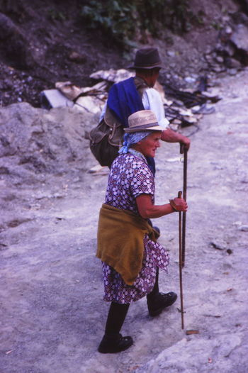 1977 Austria Day Full Length Hats In The Mountains Man And Woman Outdoors People Rear View Togetherness Traditional Clothing Two People Walking