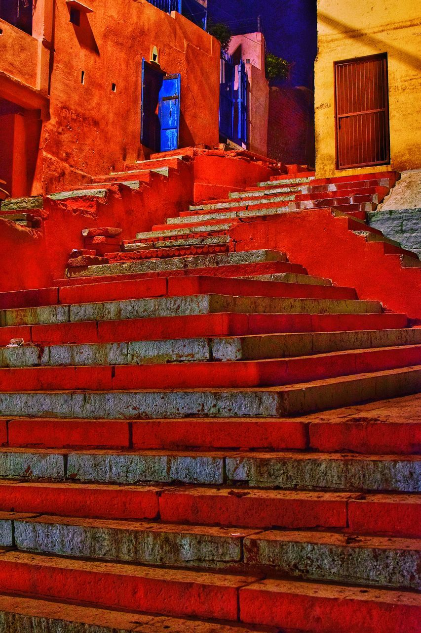 steps, staircase, architecture, steps and staircases, built structure, red, building exterior, no people, low angle view, day, outdoors