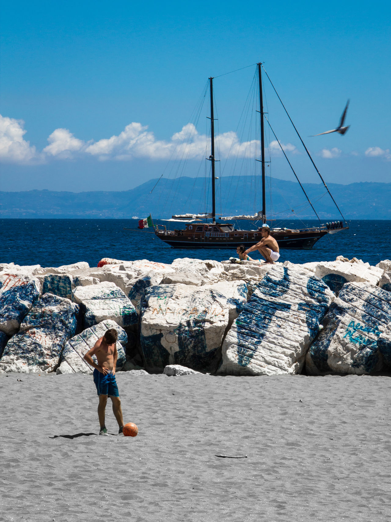 Three ways to live a day at the sea. Beach Day Live For The Story Naples, Italy Nature Nautical Vessel Outdoors People Real People Sand Scenics Sea Sky Sun Water