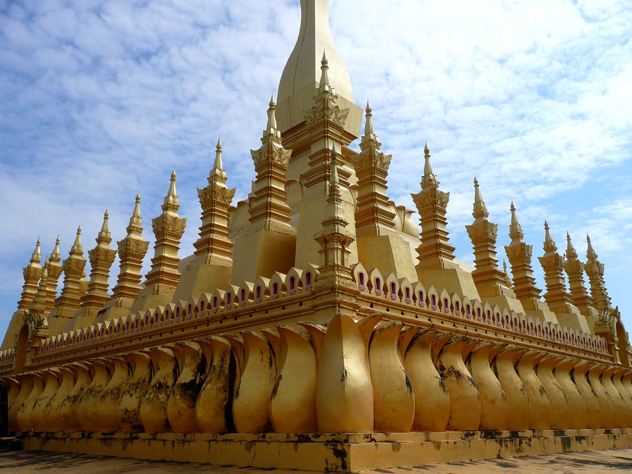 Architecture Business Finance And Industry Cultures Day Gold Gold Colored Golden Temple Landscape Loas No People Outdoors Pagoda Place Of Worship Religion Sky Spirituality Travel