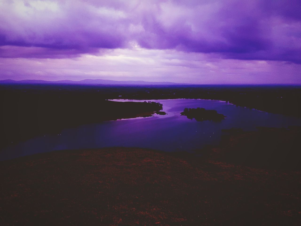 Lough gur scenery with a twist !! Nature Water Beauty In Nature Purple Cloud - Sky Scenics Sunset Sky No People Sea Silhouette Outdoors Night Ireland First Eyeem Photo