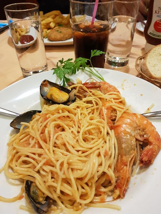 Food And Drink Freshness Italian Food Ready-to-eat Food Pasta Plate Serving Size Still Life Indoors  Indulgence Gourmet Spaghetti Table Cooked Meal Drinking Glass Appetizer Food Styling Food And Drink Homemade
