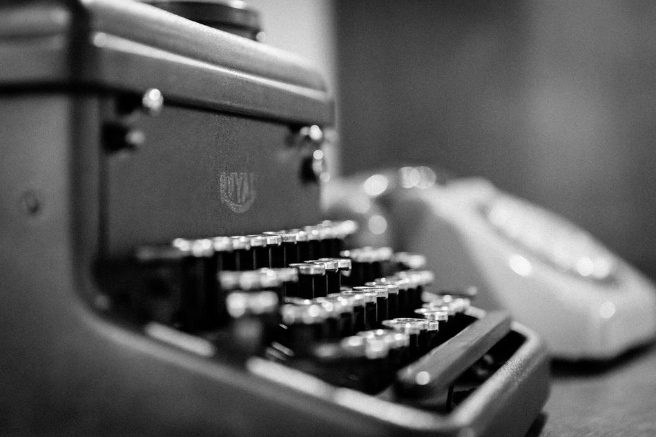 Writing machine and a telephone EyeEm Best Shots EyeEm Best Edits EyeEm Best Shots - Black + White EyeEm Masterclass Writing Machine  Blackandwhite Black & White Black And White Desk Telephone Office Vintage Vintage Style Depht Of Field Selective Focus Blurry Background Taking Photos Office Equipment Showcase July