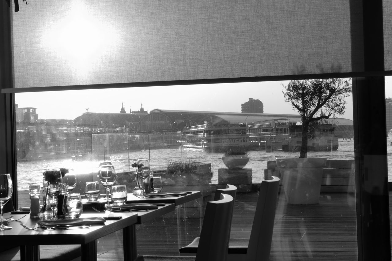 Black And White City Dining Table From The Window Restaurant Sunset Table The Sea