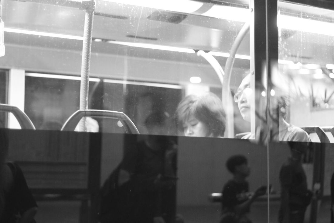 Night Photography Night Life People Photography Blackandwhite People On The Bus