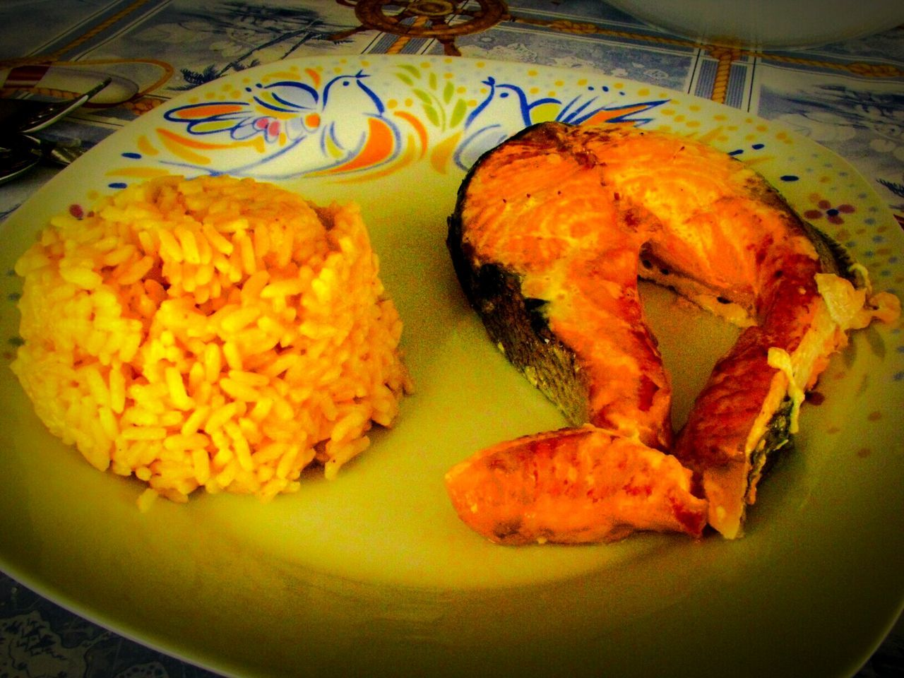 Q Quality Food Baked Salmon and Rice Boiled in Turmeric  Solution. Food Food Photography Diet & Fitness Dietfood My World Of Food Delicious Yummy Yellow Rice Everything In Its Place Showcase March No People Dish Of The Day Lunch Dinner What's For Dinner? Dish Show Us Your Takeaway!