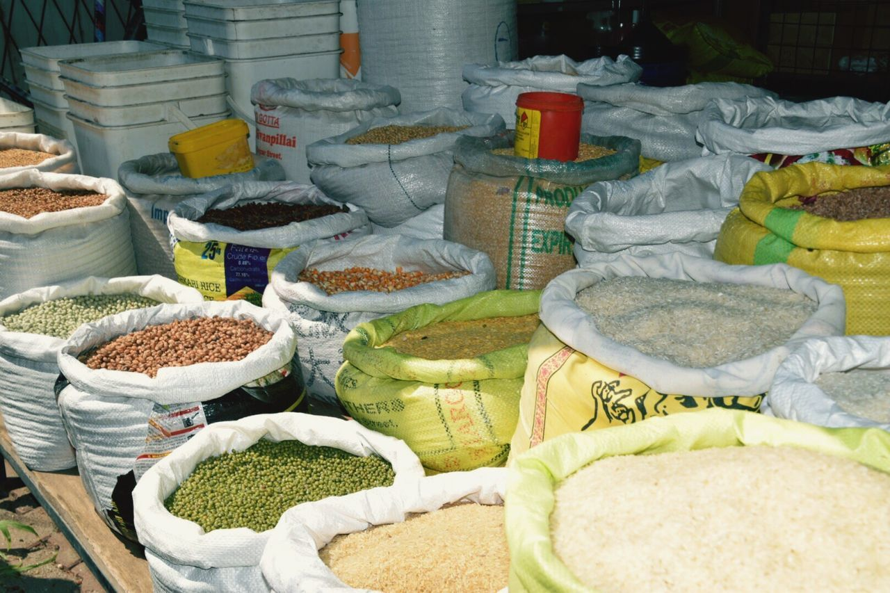 Full Frame Abundance Backgrounds Travel Photography Food For Sale Choice Variation Large Group Of Objects Market Stall Spices Bags Of Spices Sri Lankan Markets Arrangement No People Sack Future Curry
