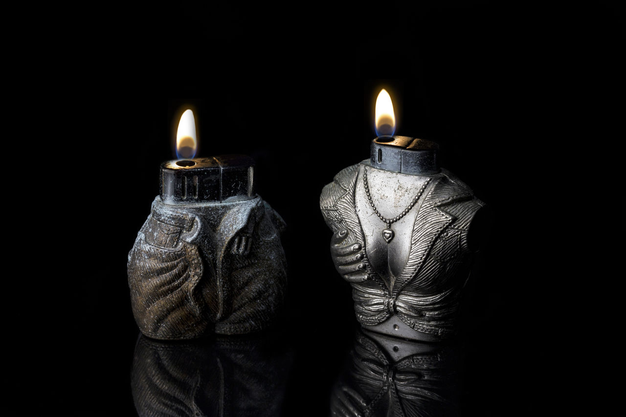 Affection Affection ♡ Black Background Burning Candle Cigarette Lighter Close-up Darling Fire Flame Fun Funny Funny Fire Heat - Temperature Heat Of The Moment Heat Of The Night Hot Igniting Lighter Lighters Lighters Up Love Man And Woman On Fire Studio Shot