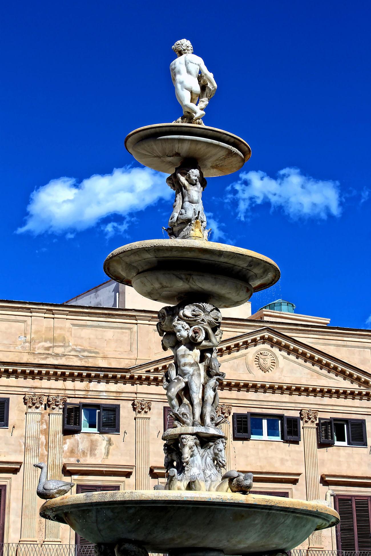 Blue Centro Storico Di Palermo Chiesa Di San Giuseppe Dei Teatini Fontana Di Piazza Pretoria No People Outdoors Palazzo Delle Aquile Palermo, Italy Quatto Canti Sculptures Sky Statue