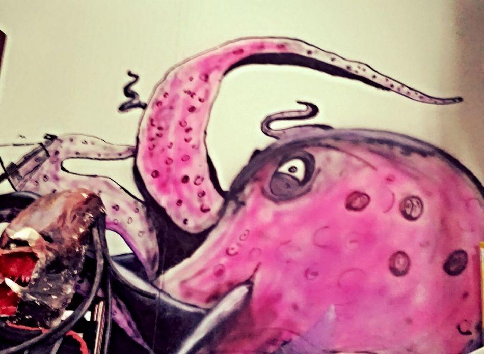 Airbrushed Graffiti Wall Painting Octopus ArtWork Art