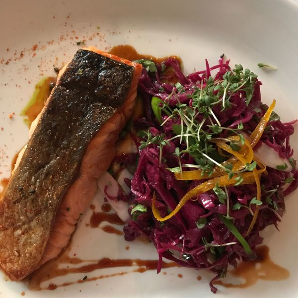 Food Food And Drink Freshness Ready-to-eat Indoors  Healthy Eating Plate Serving Size No People Close-up Day Salmon Salad Red Cabbage