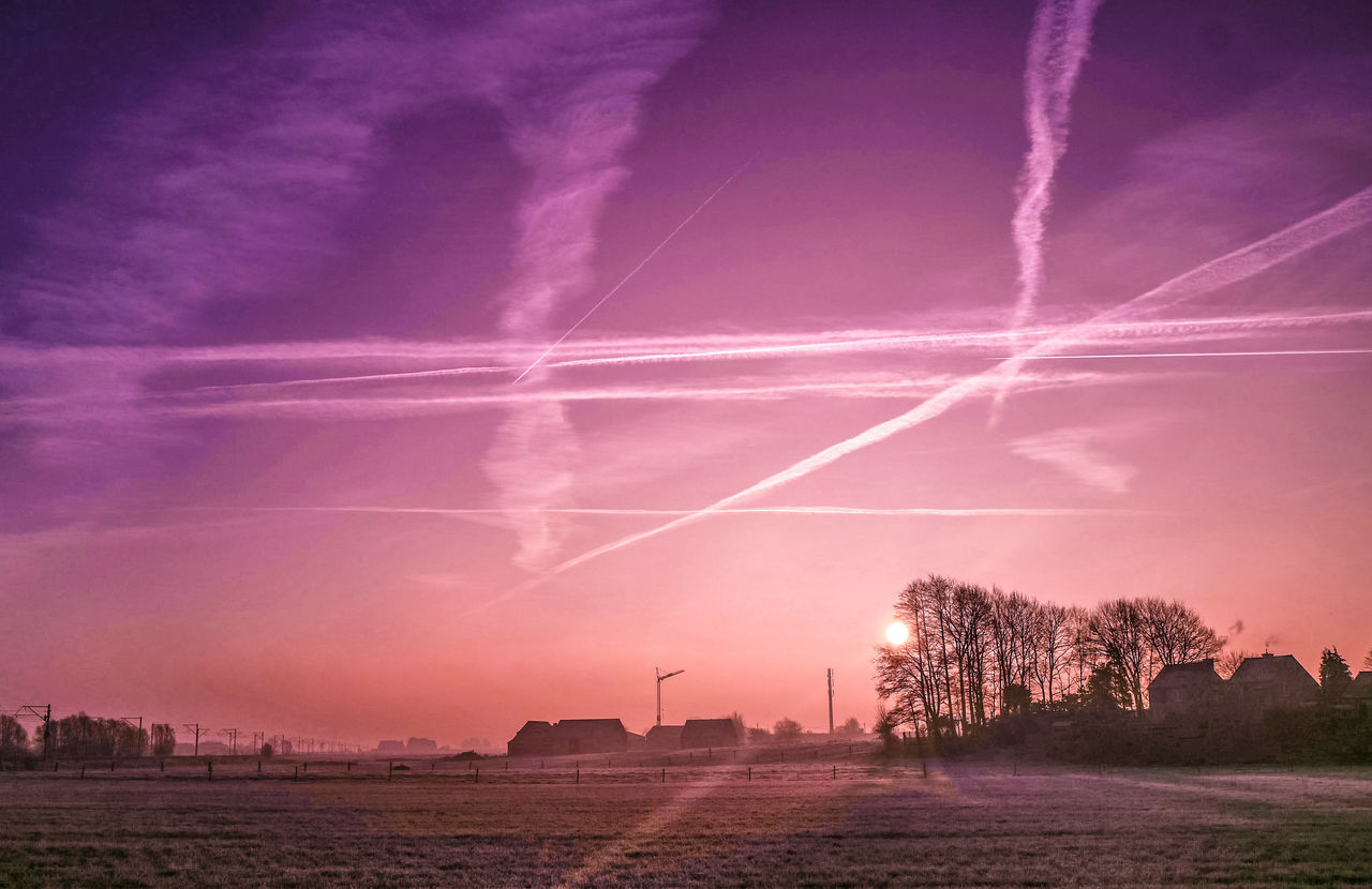 Sunrise Dramatic Sky Purple Storm Cloud Awe Scenics Beauty In Nature Vapor Trail Tree No People Nature Outdoors Landscape Sky Enjoying The View EyeEm Best Shots Taking Photos Trees And Sky Exceptional Photographs Cold Temperature Winter EyeEm Nature Lover Eye4photography  Romantic Sky EyeEmBestPics