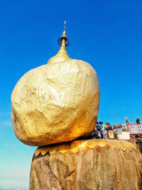 Blue No People Sky Day Sculpture Clear Sky Statue Outdoors Nature Kyaik Kauk Pagoda Pagoda Golden Rock Pagoda