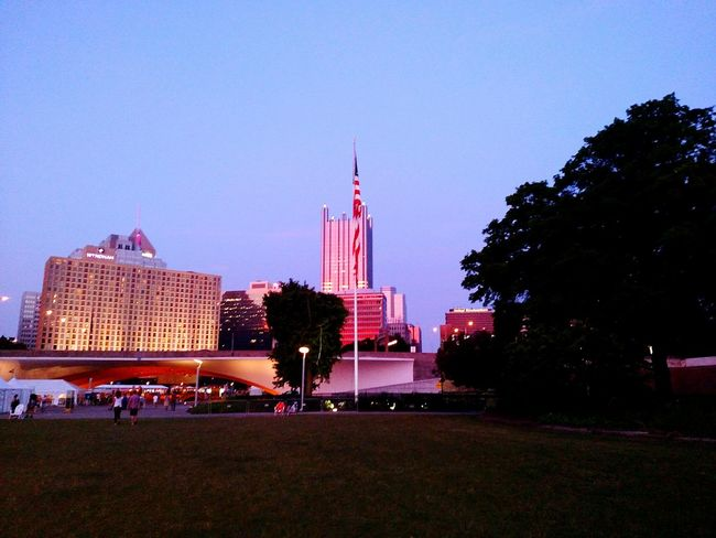 Exploring Pittsburgh Pennsylvania Sunset Colors Cityscape Night Lights Night View Building American Flag Tree Skyline Downtown Lifestyles Leisure Activity Beautiful Summer Reflection Beauty Mobile Photography at Point State Park