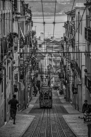 | elevador da bica 1 | Lisbon Lisbonlovers Portugal_em_fotos Elevador Elevador Da Bica Tram Electrico De Lisboa Urban Landscape Lissabon Lisboa Black And White Monochrome EyeEm Best Shots - Black + White Capital Cities  Light And Shadow Transportation Urban Transportation Street