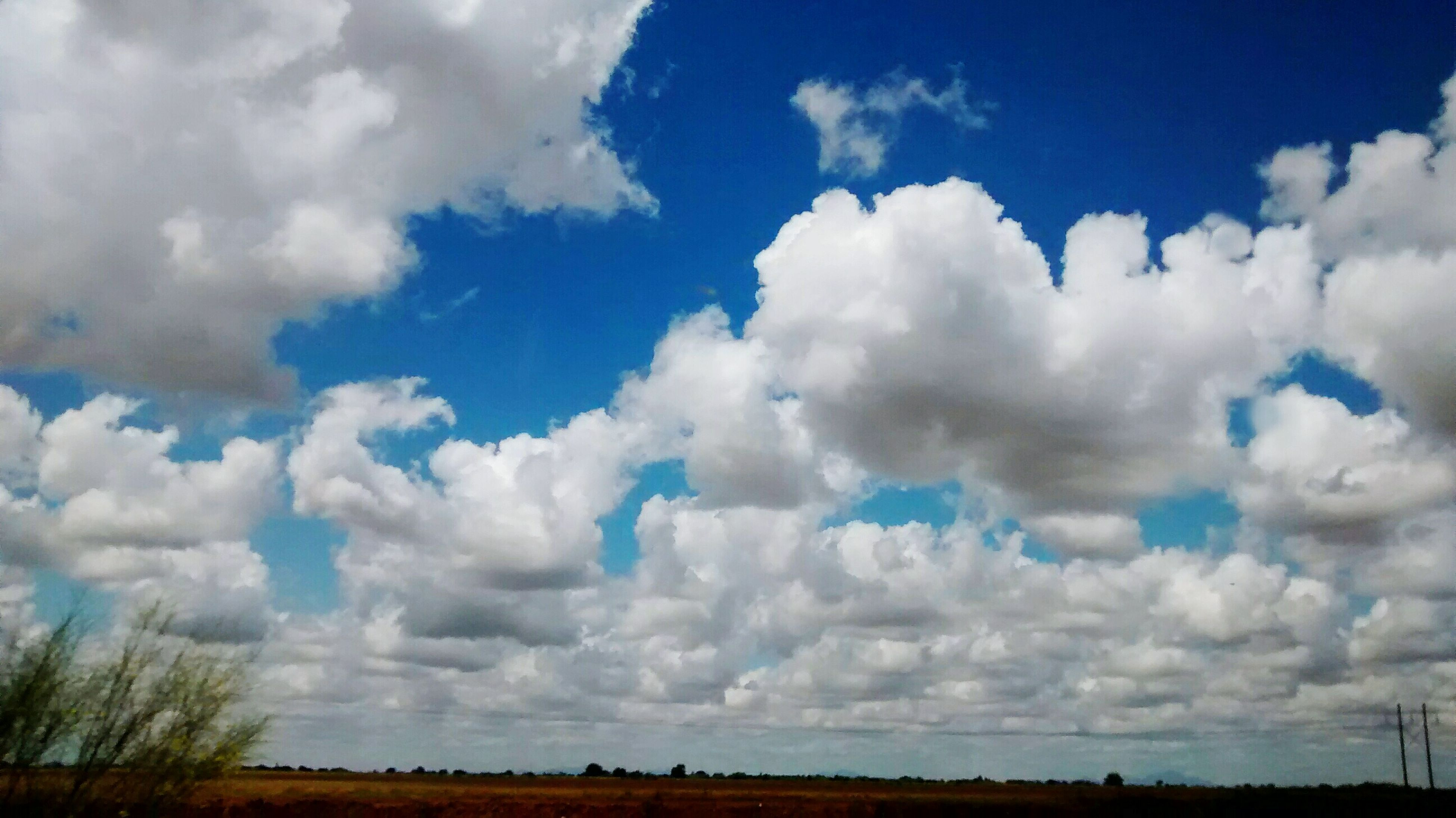 sky, cloud - sky, tranquil scene, tranquility, scenics, landscape, cloudy, cloud, beauty in nature, field, nature, blue, cloudscape, horizon over land, idyllic, day, outdoors, non-urban scene, grass, rural scene