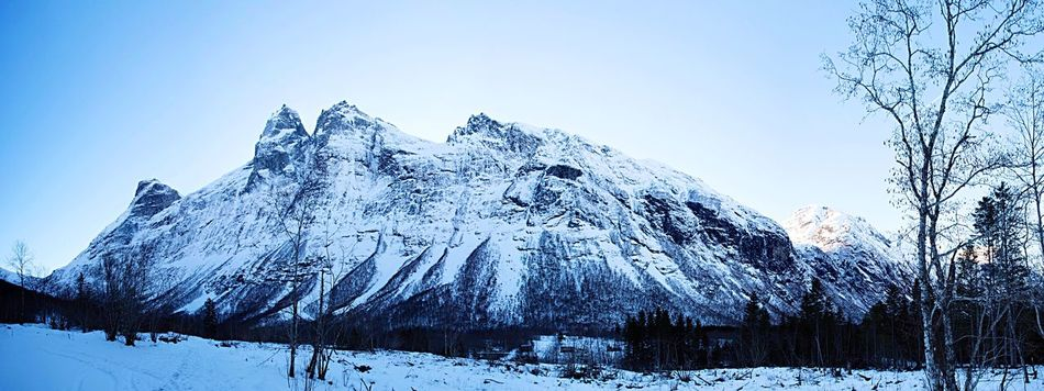 Snow Mountain Nature Winter Beauty In Nature Scenics Mountain Range Snowcapped Mountain Landscape No People Outdoors Day Clear Sky Norwegian Landscape Norway Camping Trollstigen Andalsnes Travel Destinations Panorama Panoramic Panoramic Photography