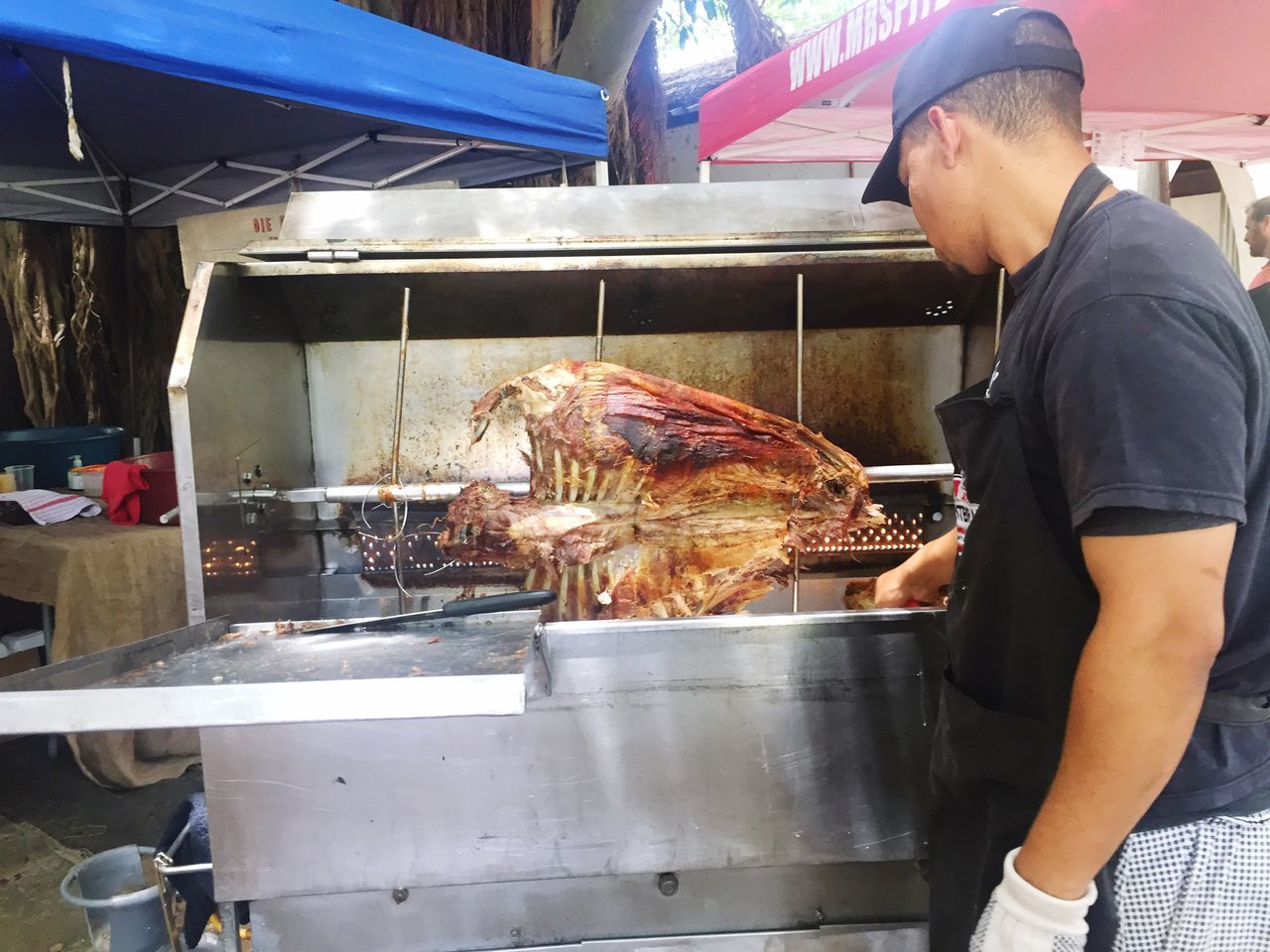 Braai Barbeque Family Market Commercial Kitchen Food Working Food And Drink Establishment Men One Person Food And Drink Real People Indoors  Freshness Occupation Meat One Man Only Bakery Only Men Heat - Temperature Adults Only Grilled Adult Manual Worker