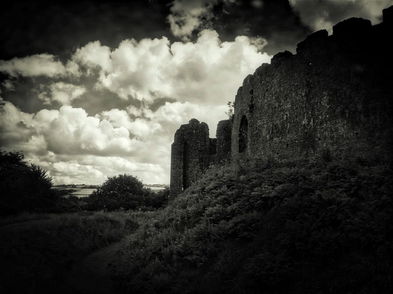 Restormel Castle Sky Castle Ruins Blackandwhite IPhoneography IPhone Photography Tadaa Community Black & White Darkness And Light