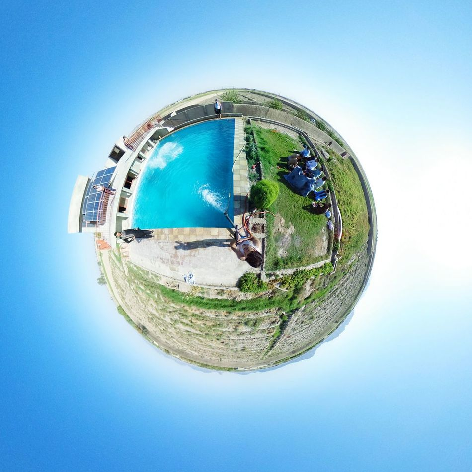 Tiny world tiny swimming pool. Clear Sky Outdoors Nature Circle Tinyplanets Fish-eye Lens First Eyeem Photo Tiny Planet Tinyworld Water Sky