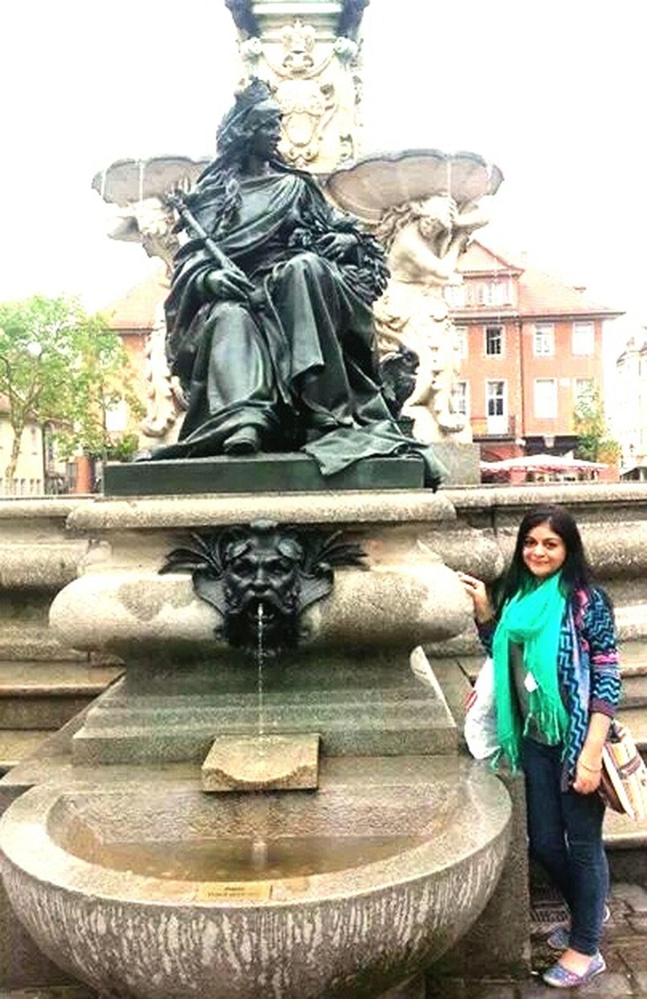 Erlangen GERMANY🇩🇪DEUTSCHERLAND@ Statue History Fountain Travel Destinations Young Women