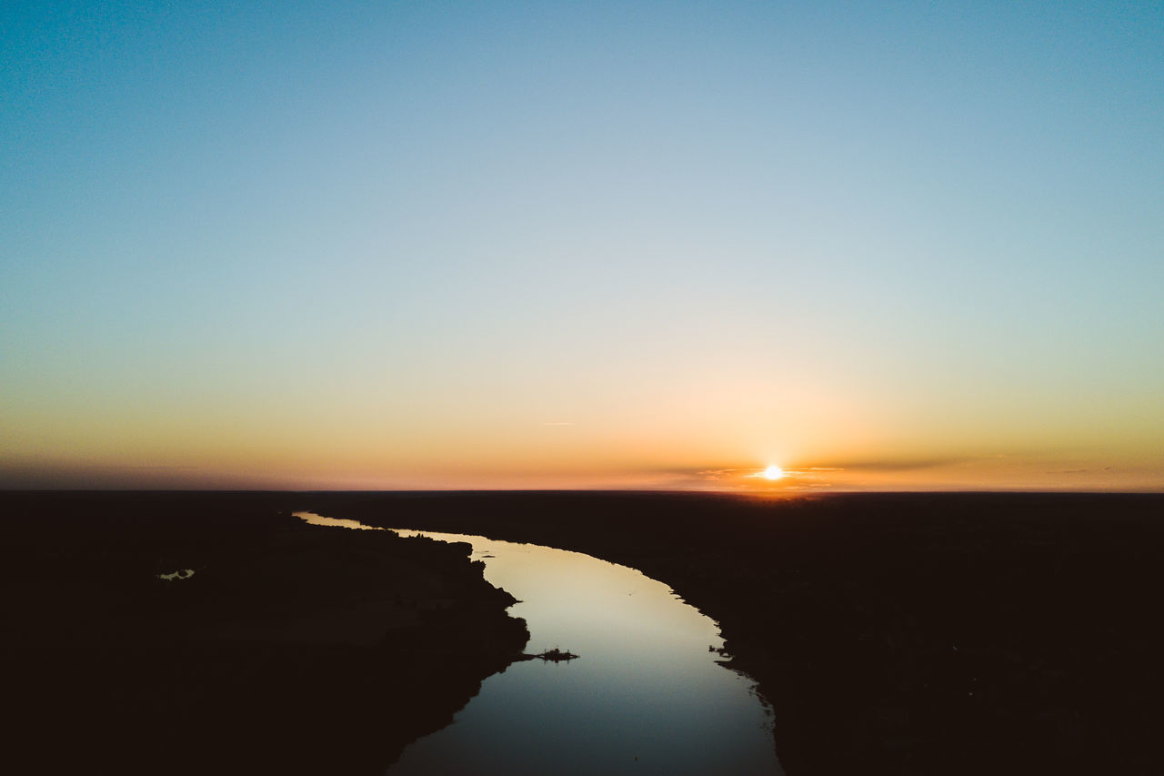 Winding River Aerial Shot Beauty In Nature Clear Sky Day Done Golden Hour Mavic Mavic Pro Nature No People Outdoors Reflection River Scenics Sea Silhouette Sky Sun Sunlight Sunset Tranquil Scene Tranquility Vilkija Water Winding River