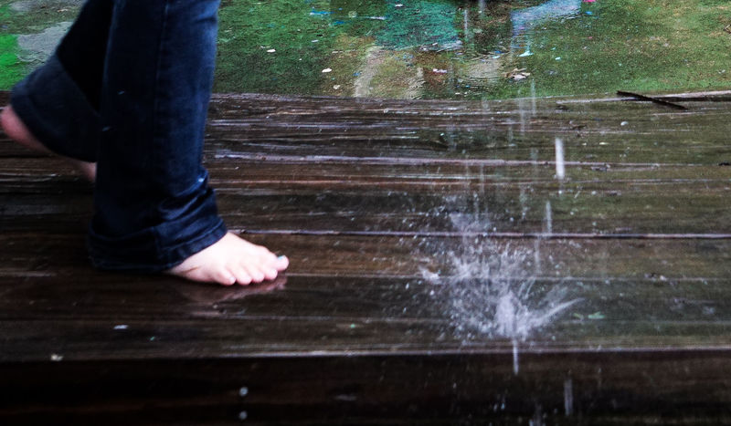 Barefoot Day Human Leg One Person Playing In The Rain Rain Real People Water